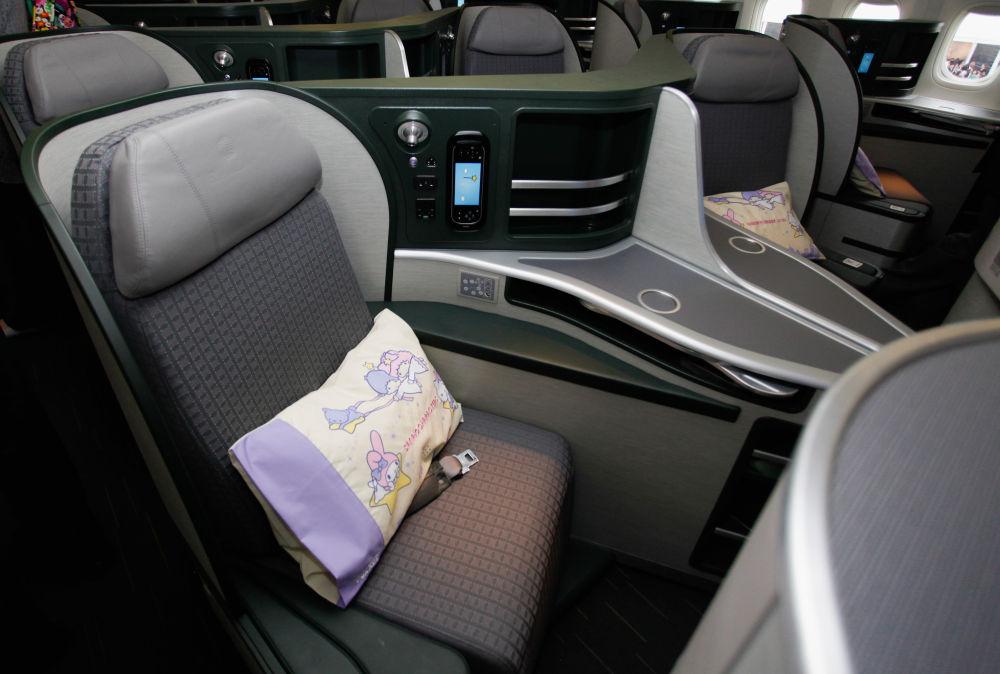 Wnętrze samolotu tajwańsich linii lotniczych EVA Air