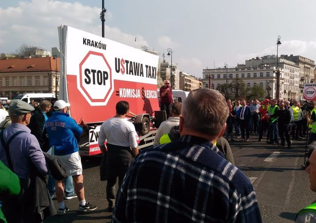 Strajk taksówkarzy w Warszawie