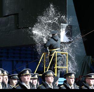 """Ceremonia wodowania atomowej łodzi podwodnej """"Biełgorod"""" w obwodzie archangielskim"""
