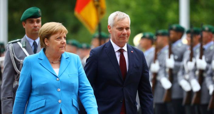 Angela Merkel podczas spotkania z premierem Finlandii Antti Rinne