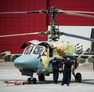 Śmigłowiec szturmowy Ка-52 Alligator w zakładzie firmy Progress wchodzącej w skład holdingu Śmigłowce Rosji w Kraju Nadmorskim