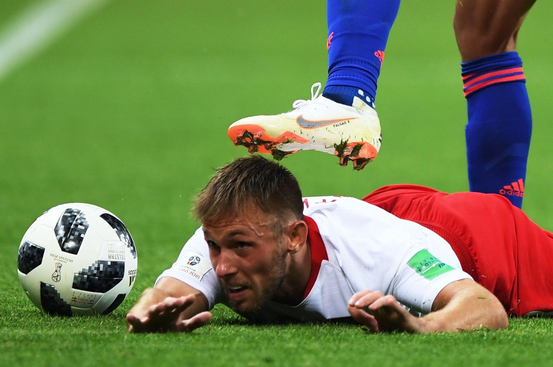 Maciej Rybus na meczu Polska - Kolumbia w Kazaniu