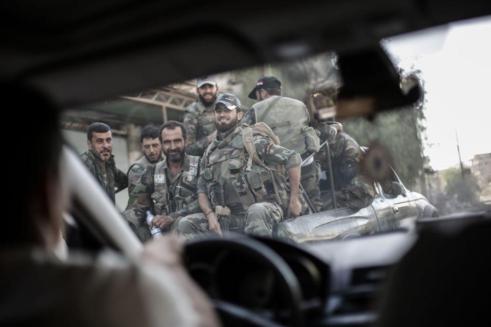Żołnierze w syryjskim mieście Guta