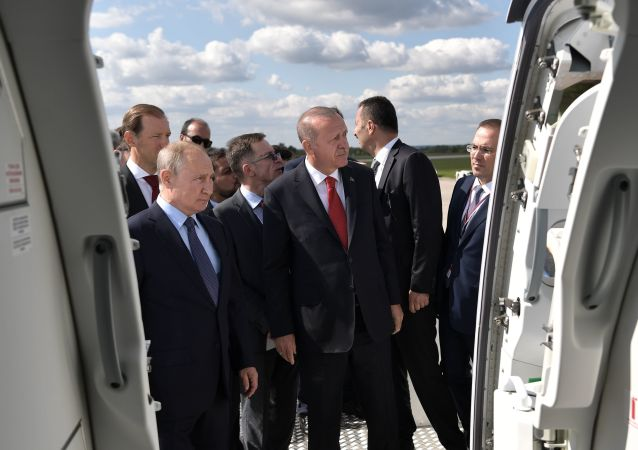 Władimir Putin i Recep Tayyip Erdogan na MAKS 2019