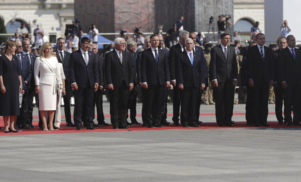 Goście na uroczystości z okazji 80. rocznicy wybuchu II wojny światowej w Warszawie