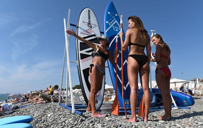 Urlopowicze na plaży w Soczi