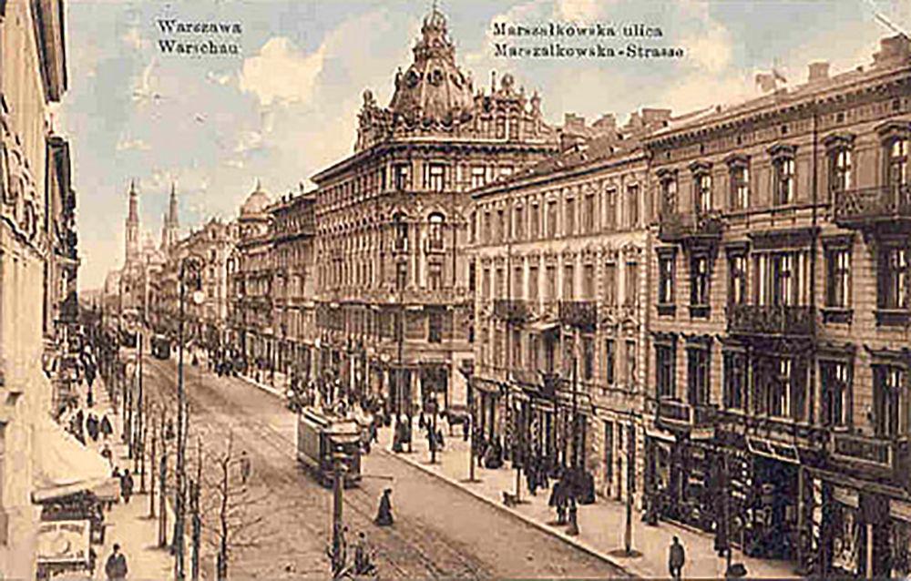 Ulica Marszałkowska w Warszawie około 1912 roku. Widoczne skrzyżowanie z ulicą Piękną, dalej widok w kierunku placu Zbawiciela