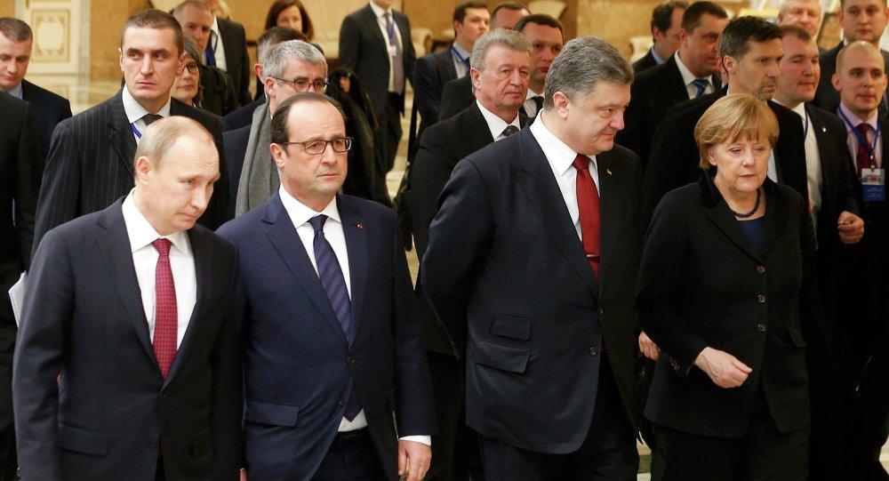 Prezydent Rosji Władimir Putin, Prezydent Ukrainy Petro Poroszenko, Kanclerz Niemiec Angela Merkel, Prezydent Francji Francois Hollande