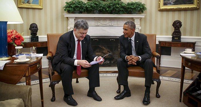 Piotr Poroszenko i Barack Obama w Białym Domie