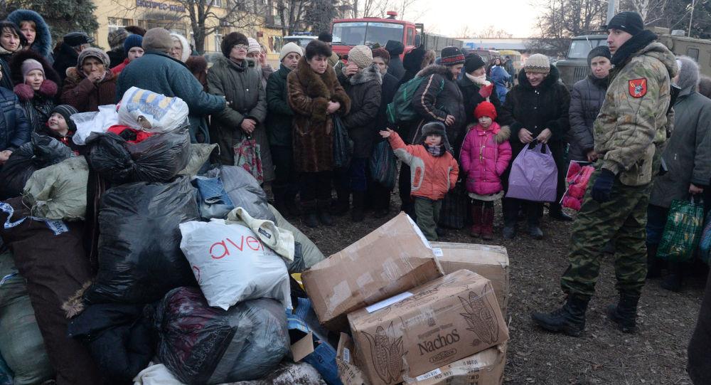 Rozdanie pomocy humanitarnej przez powstańców, Debalcewe