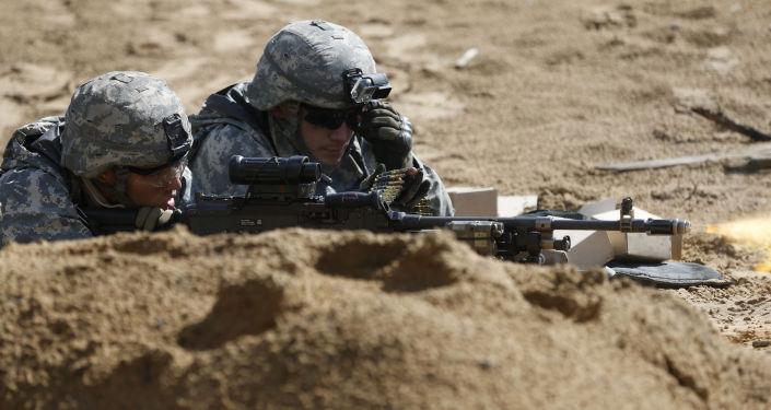 Żołnierze amerykańscy podczas szkoleń wojskowych na Litwie