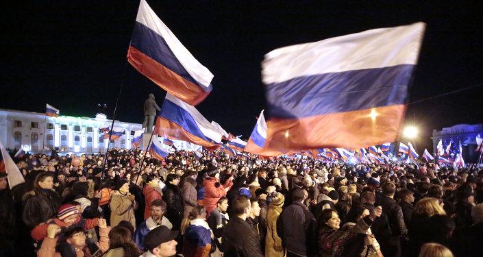 Koncert w centrum Symferopola na cześć referendum w sprawie statutu Krymu