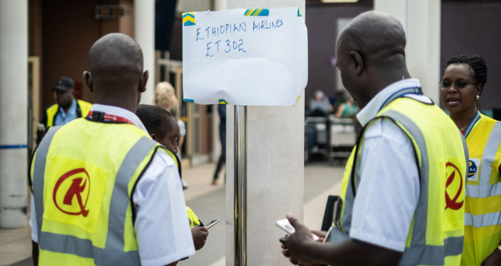 Stanowisko informacyjne o katastrofie lotniczej etiopskich linii lotniczych w Kenii