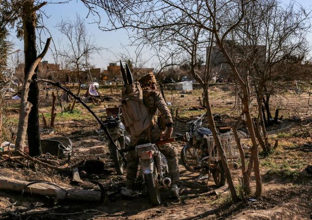 Bojownik Syryjskich Sił Demokratycznych w obozie Daesh w Baguz