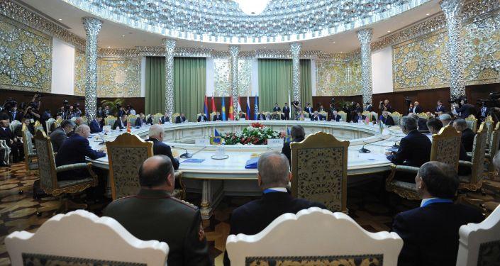 Posiedzenie kolejnej sesji OUBZ w rozszerzonym składzie w Pałacu Narodów w Duszanbe