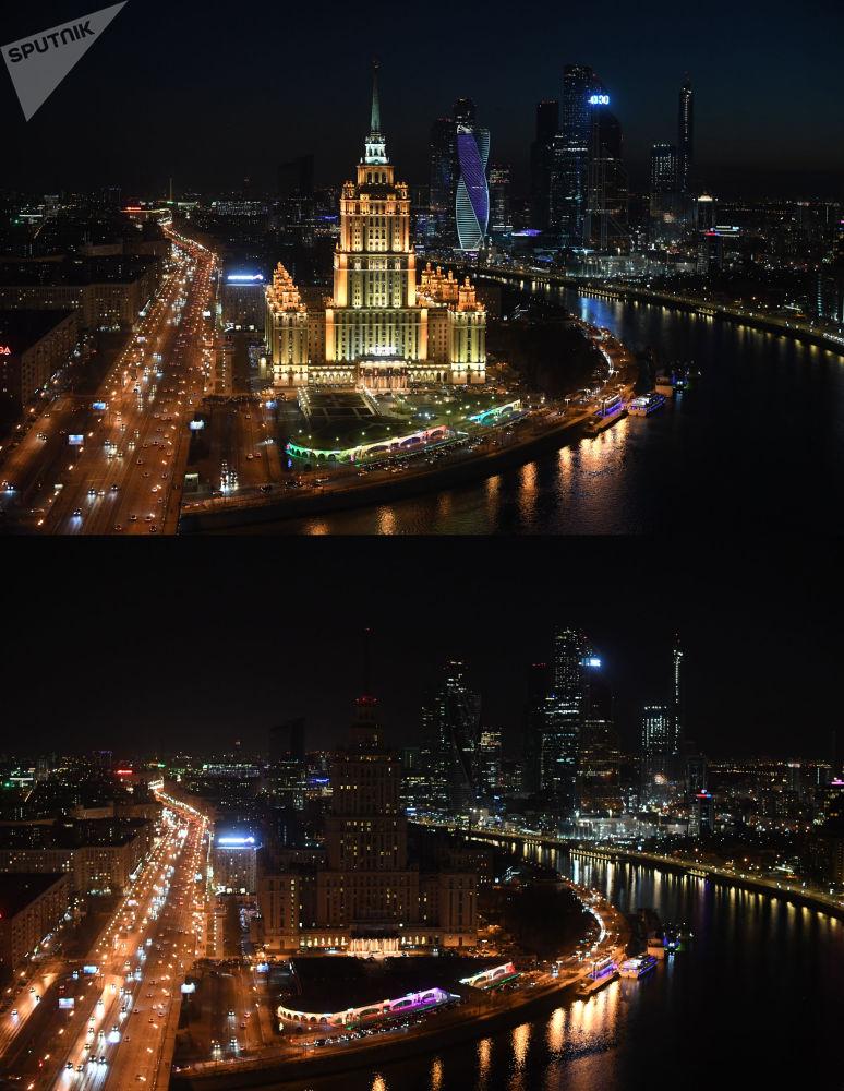 """Wieżowiec hotelu Radisson Royal (wcześniej hotel Ukraina) na Prospekcie Kutuzowa w Moskwie przed i po wyłączeniu oświetlenia w ramach akcji ekologicznej """"Godzina dla Ziemi""""."""
