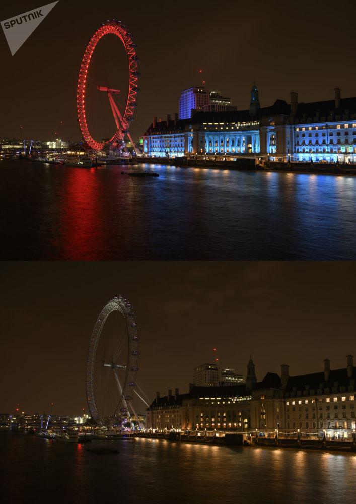 """Koło obserwacyjne """"London Eye"""" na brzegu Tamizy przed i po wyłączeniu oświetlenia w ramach akcji ekologicznej """"Godzina dla Ziemi""""."""