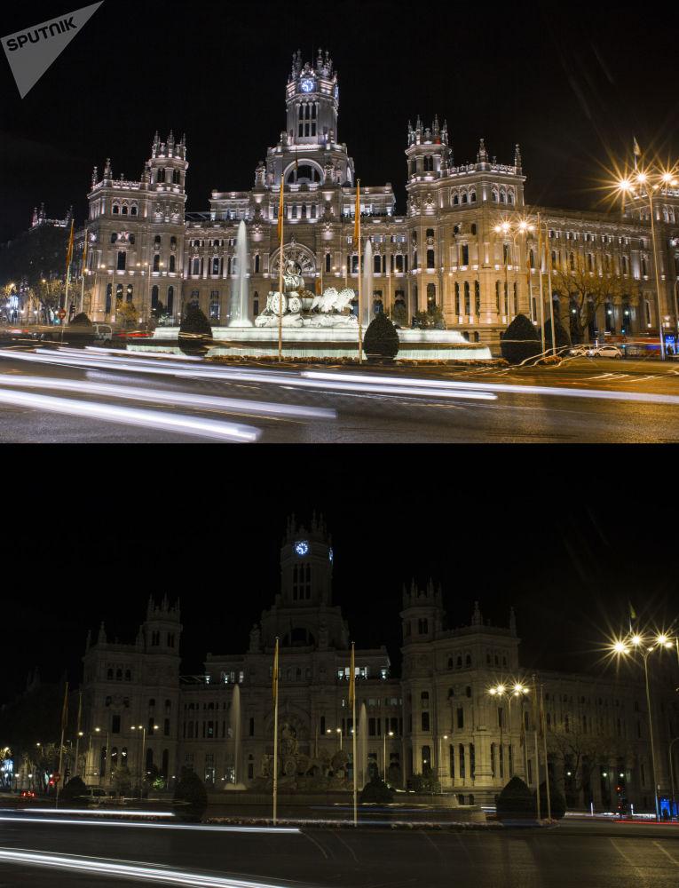 """Palacio de Cibeles w Madrycie przed i po wyłączeniu oświetlenia w ramach akcji ekologicznej """"Godzina dla Ziemi""""."""