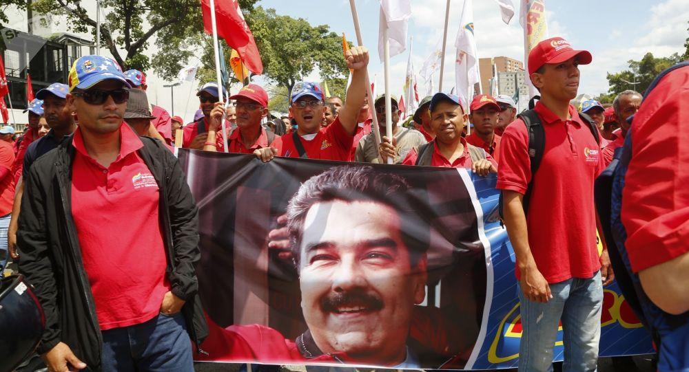 Akcja poparcia prezydenta Wenezueli Nicolasa Maduro w Caracas