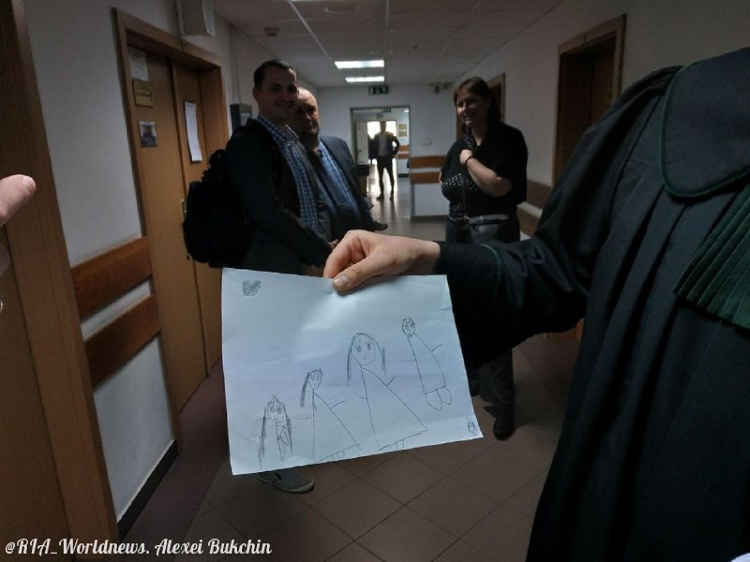 Rysunek wykonany przez dzieci Lisowa w sądzie