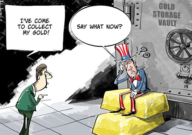 Karykatura: biedni Niemcy w żaden sposób nie mogą otrzymać swojego złota od USA