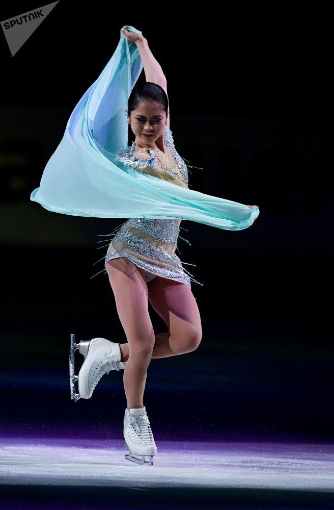 Japońska łyżwiarka figurowa Satoko Miyahara na Mistrzostwach Świata w łyżwiarstwie figurowym w Saitama.