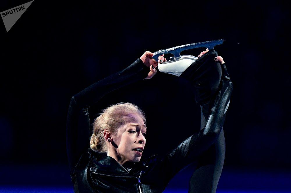Brady Tennel (USA) bierze udział w pokazach na Mistrzostwach Świata w łyżwiarstwie figurowym w Saitama.