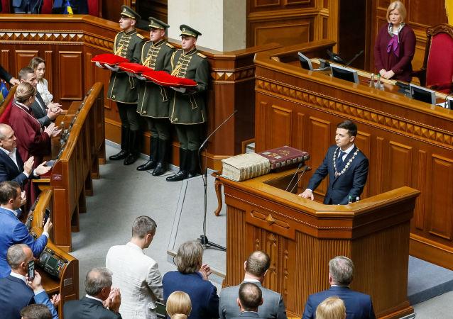 Wołodymyr Zełenski podczas inauguracji