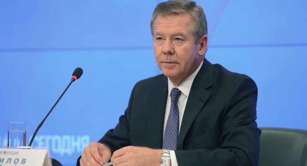 Wiceminister spraw zagranicznych Rosji Giennadij Gatiłow na konferencji prasowej w agencji Rossiya Segodnya
