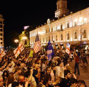 Uczestnicy akcji protestu w Tbilisi