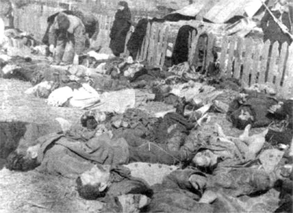 Identyfikacja ofiar Rzezi Wołyńskiej. Zdjęcie archiwalne, 1943.
