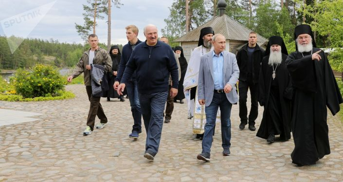 Prezydent Rosji Władimir Putin w czasie odwiedzin Wałaamskiego Monasteru