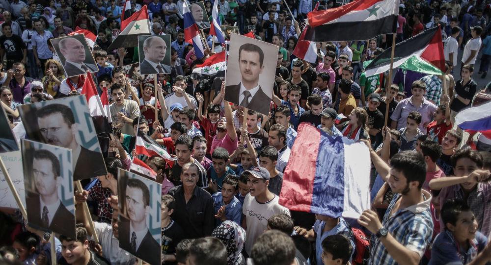 Wiec poparcia dla Baszszara al-Asada i Władimira Putina w Latakii, Syria