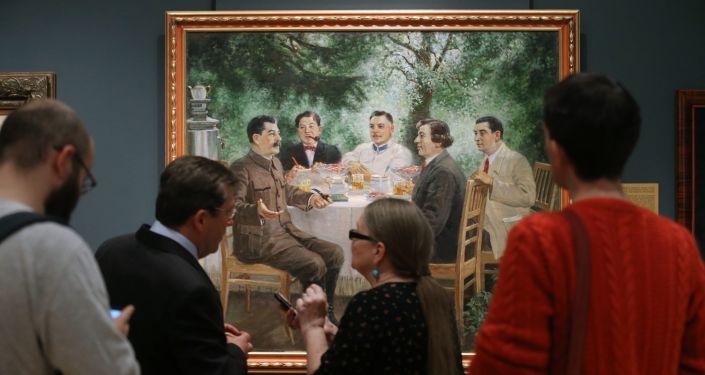 Obraz autorstwa Aleksandra Gerasimowa Artyści na daczy u Stalina (1951 rok)