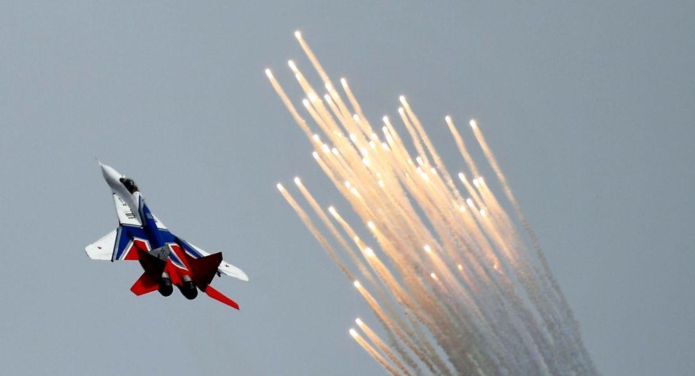 """Samolot MiG-29 na ogólnorosyjskim etapie zawodów """"Aviadarts 2019"""" na poligonie lotniczym pod Riazaniem"""