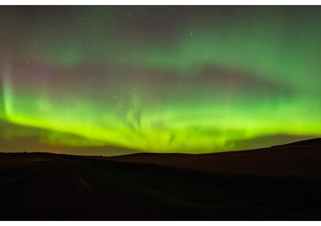 Zorza polarna nad Dakotą Północną