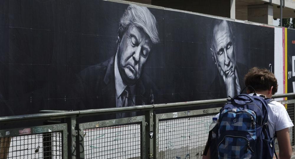 Trump i Putin na plakacie.