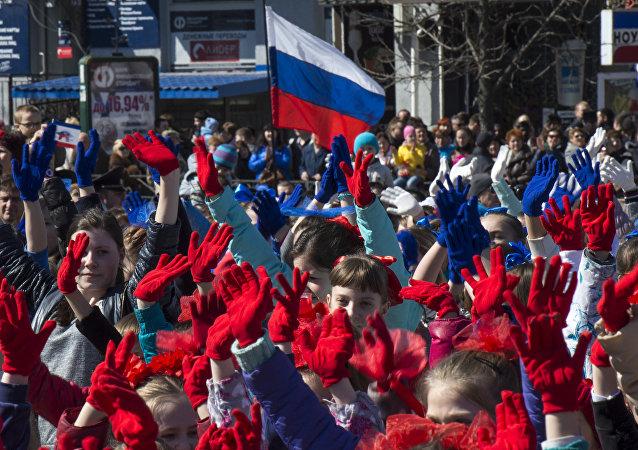Rocznica przyłączenia Krymu do Rosji. Symferopol.