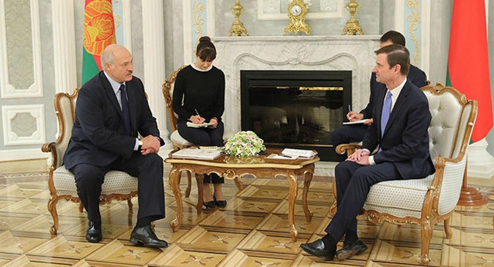 Prezydent Białorusi Alaksandr Łukaszenka i zastępca sekretarza stanu USA do spraw politycznych David Hale na spotkaniu w Mińsku