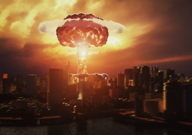 Wizualizacja 3D wybuchu bomby jądrowej nad miastem