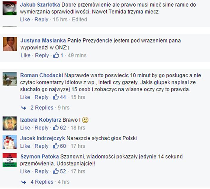 Komentarze. Facebook. 29.09.2015