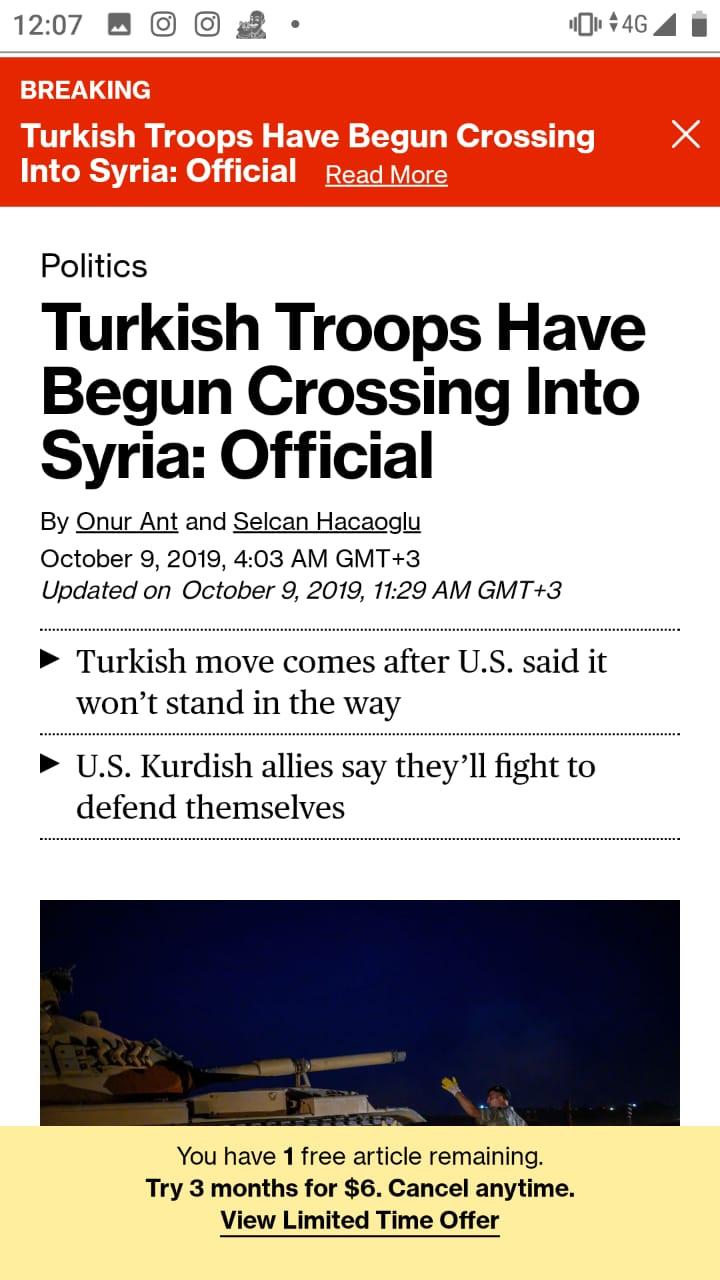 Bloomberg poinformowa o wkroczeniu wojsk Turcji do Syrii