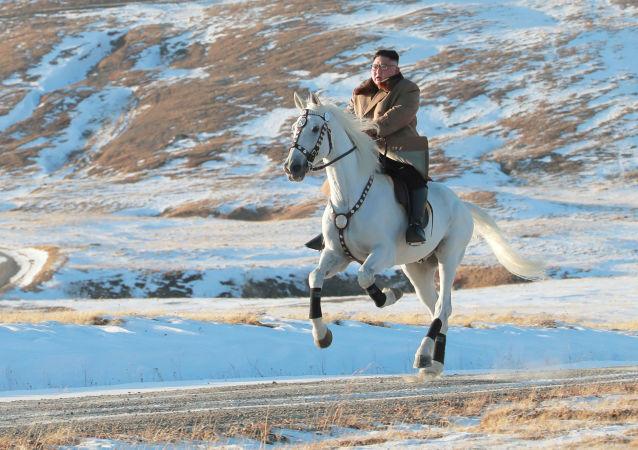 Przywódca Korei Północnej Kim Dzong Un jeździ konno podczas opadów śniegu na górze Pektu-san