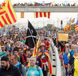 Uczestnicy strajku generalnego w Katalonii