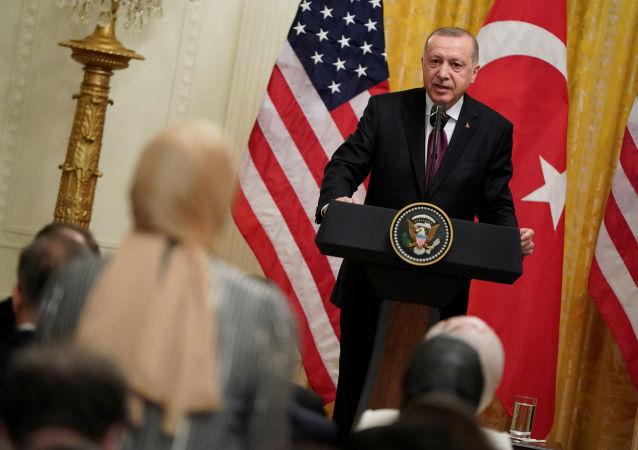 Prezydent Turcji Tayyipy Erdogan w czasie spotkania z prezydentem USA Donaldem Trumpem w Waszyngtonie
