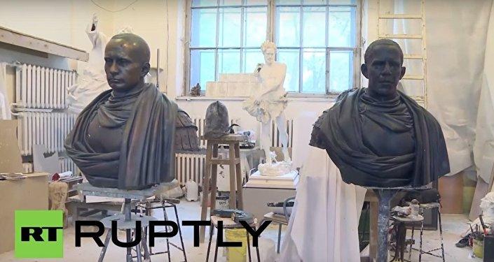 Rzeźby Putina i Obamy