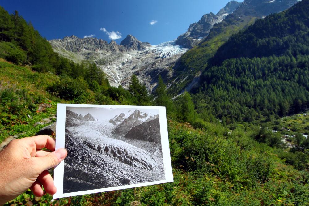 Lodowiec Glacier du Trient w 1891 i 2019 roku