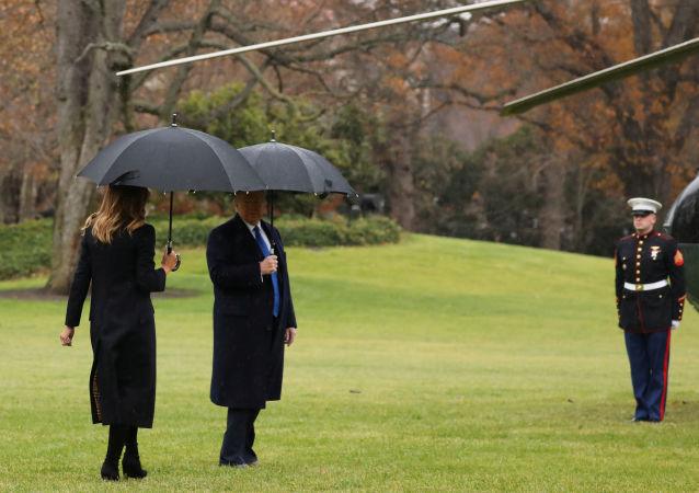 Pierwsza dama USA Melania Trump i prezydent USA Donald Trump przed podróżą na szczyt NATO w Londynie