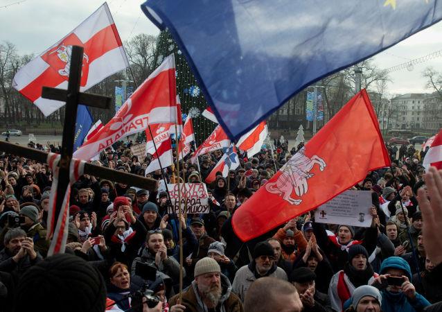 Wiec przeciwko integracji z Rosją w Mińsku na Białorusi