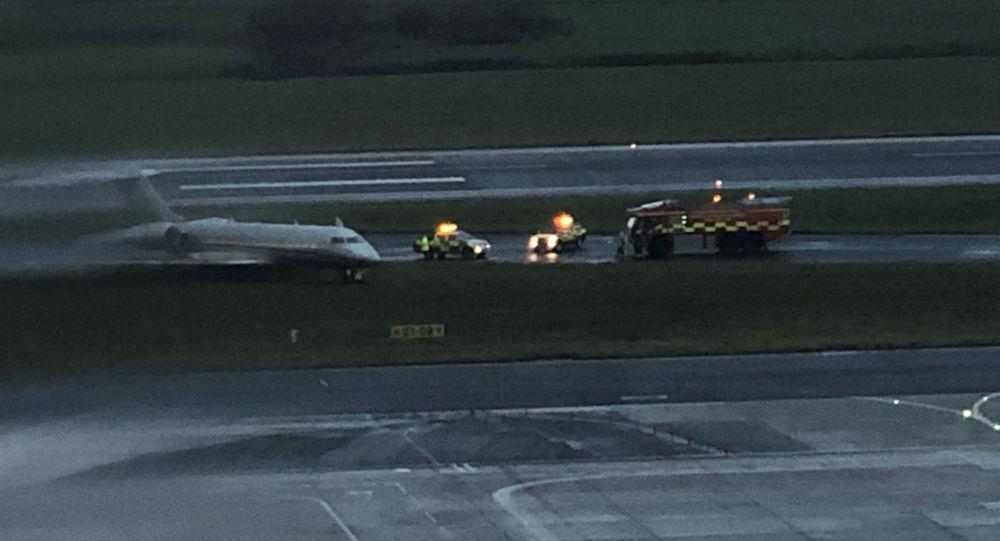 Prywatny odrzutowiec, który zjechał z pasa startowego na lotnisku w Liverpoolu